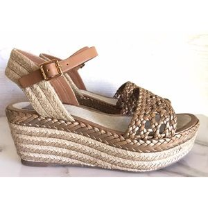 Tory Butch Leather Wedge Espadrille Sandals 36.5