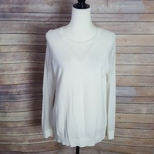 Vince Camuto White Sweater with Sheer Detail