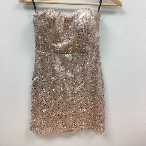 Super sparkly strapless dress