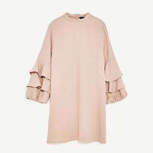 Zara Frilled-Sleeve Dress
