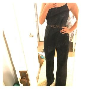 NWT black jumpsuit with lace detail