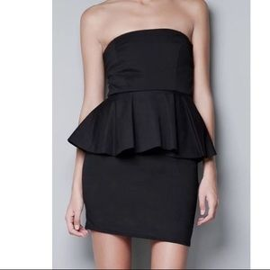 Zara Collection Jersey Knit Black Peplum Dress M