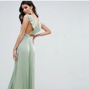 Green Floor length Asos Cross Back Ruffle dress