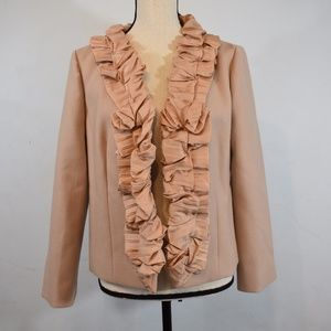 J. Crew blush color  Wool Silk Trim Ruffle Jacket