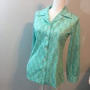 Vintage 1970s Aqua Pattern Button-down Shirt