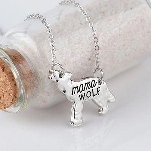 Silver plated mama wolf necklace