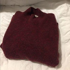 Burgundy Cropped Mock-neck Sweater