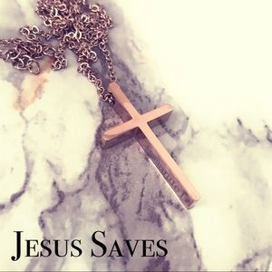 Rose Gold Tone Stainless Steel Cross Necklace