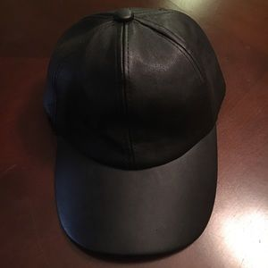Black faux leather hat