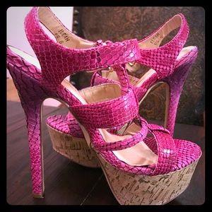 Hot Pink {faux} Snake Skin Summer Heel
