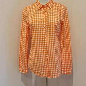 Old Navy gingham orange xs top