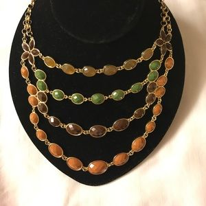 Green & brown multilayered statement necklace