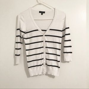 The Limited Black and White Striped Cardigan