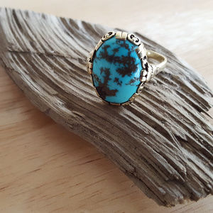 Vintage 14K Solid Gold Turquoise Ring Size 10