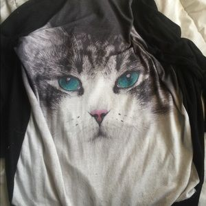 Long Black Cardigan w Cat Design