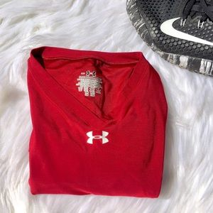 Under Armour, Red V-Neck Long Sleeve Workout Tee