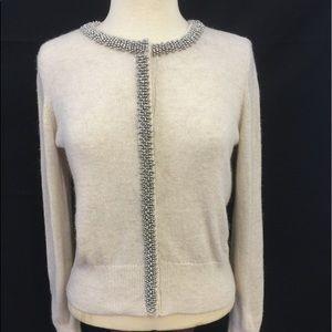 [H&M] Lg Off white Beaded trim long sleeve sweater