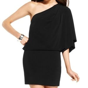 Jessica Simpson Black Blouson One shoulder Dress