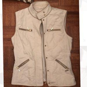 ZARA white vest with gold zipper
