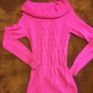 Pink cable knit tunic