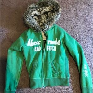 Abercrombie and fitch fur zip up