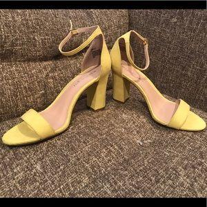 Madden Girl Yellow Bella Block Heels **never worn*