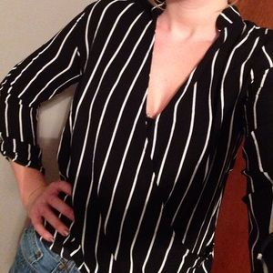 Charlotte Russe Black with White Stripe Blouse