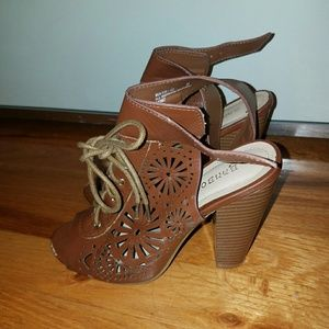 Bamboo Peep Toe Brown Heeled Sandals
