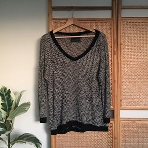 hawlowe & graham black v neck marbled sweater