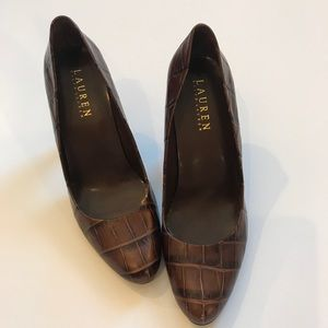 RALPH LAUREN Brown Leather Croc Heels. Size 7