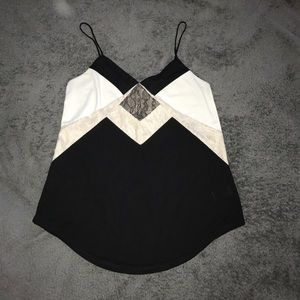 Express Tops - Black and White Lace Top