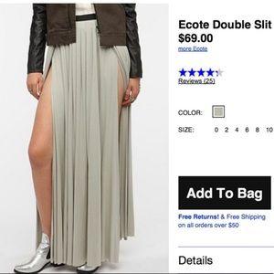 ✨Ecote double slit light grey maxi skirt, size 2✨