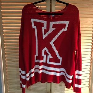 Knit letterman sweater