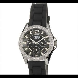 Black Silicone strap Glitz Fossil Watch