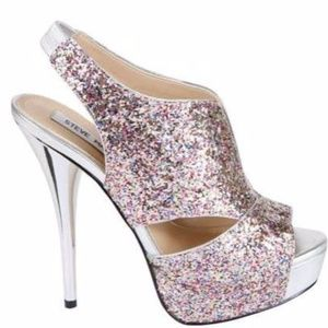 Steve Madden glitter platform peep toe heels