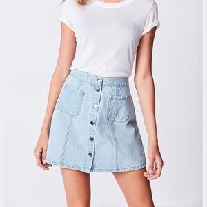 BDG button up jean skirt