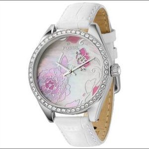 Fossil white Leather band watch