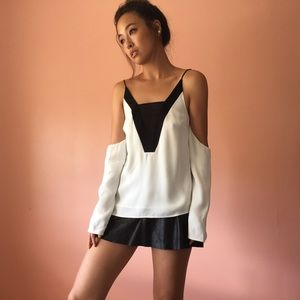 C/MEO Collective Off Shoulder Two Tone Blouse