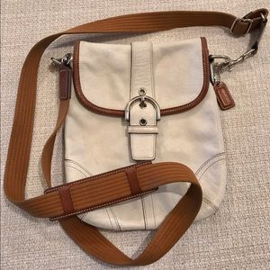 Coach white leather cross body bag