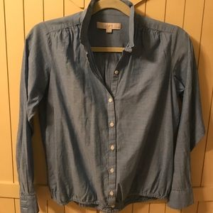 Blouse- chambray blue with elastic waist