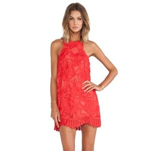 Lover and Friends Red Caspian Shift Dress Coral S