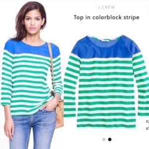 J.Crew Colorblock Striped Shirt Top Blouse Green 8