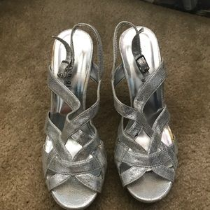 Silver heels worn only to prom