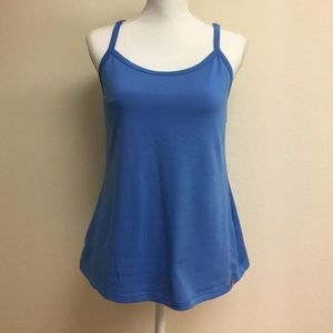 Blue North Face racerback tank top