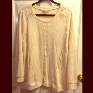 Forever 21 Cream Mixed Media Textured Sweater
