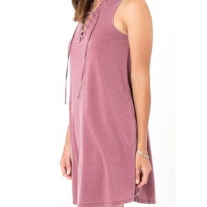 Z Supply Dresses - Z Supply Lace Up Dress in Rosewood
