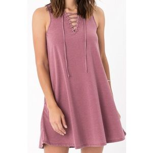Z Supply Lace Up Dress in Rosewood