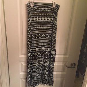 Tribal mint blue and black maxi side slit skirt