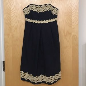 Navy and gold Lilly Pulitzer Betsey dress
