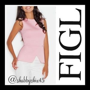 Rose Scuba-Knit Peplum Sleeveless Top